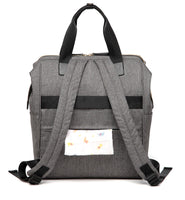 Large Bucket Zip Backpack Changing Bag – Grey