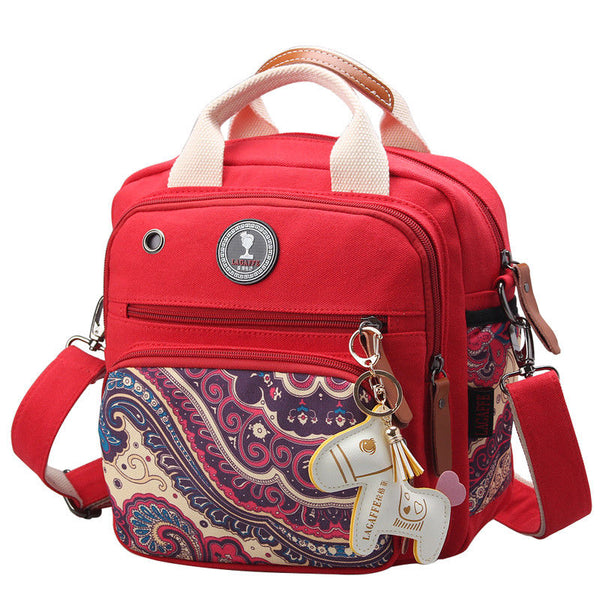 Mini Cross-Body Changing Bag - Red Paisley
