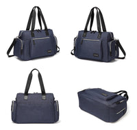Large Messenger Changing Bag – Blue Denim with Silver Zipped Side Pockets