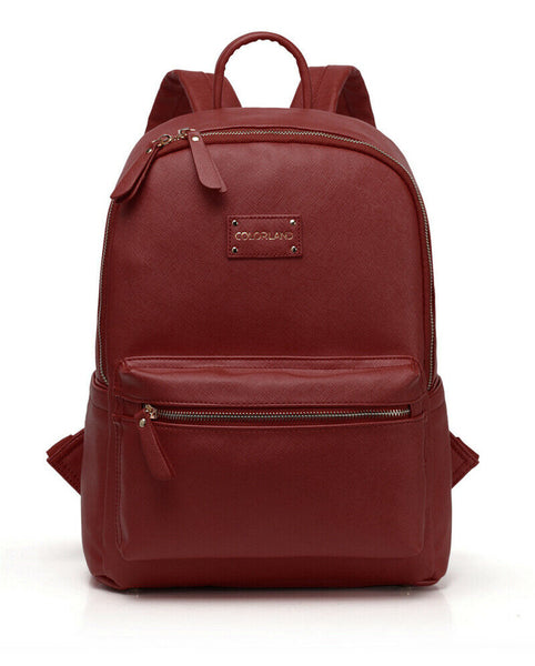 Medium Faux Leather Rucksack Changing Bag - Red Wine with Red Interior