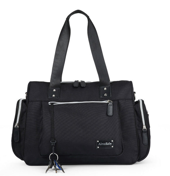 Large Messenger Changing Bag – Black with Silver Zipped Side Pockets