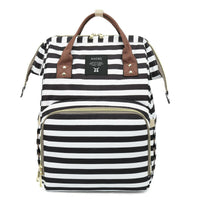 Bucket Zip Backpack Changing Bag - Black & White Stripes with Tan handle