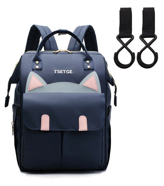 Bucket Zip Backpack Changing Bag & Pram Pegs - Navy Blue Kitty