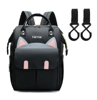 Bucket Zip Backpack Changing Bag & Pram Pegs - Black Kitty