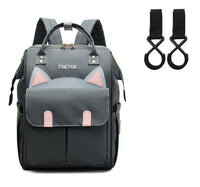 Bucket Zip Backpack Changing Bag & Pram Pegs - Grey Kitty