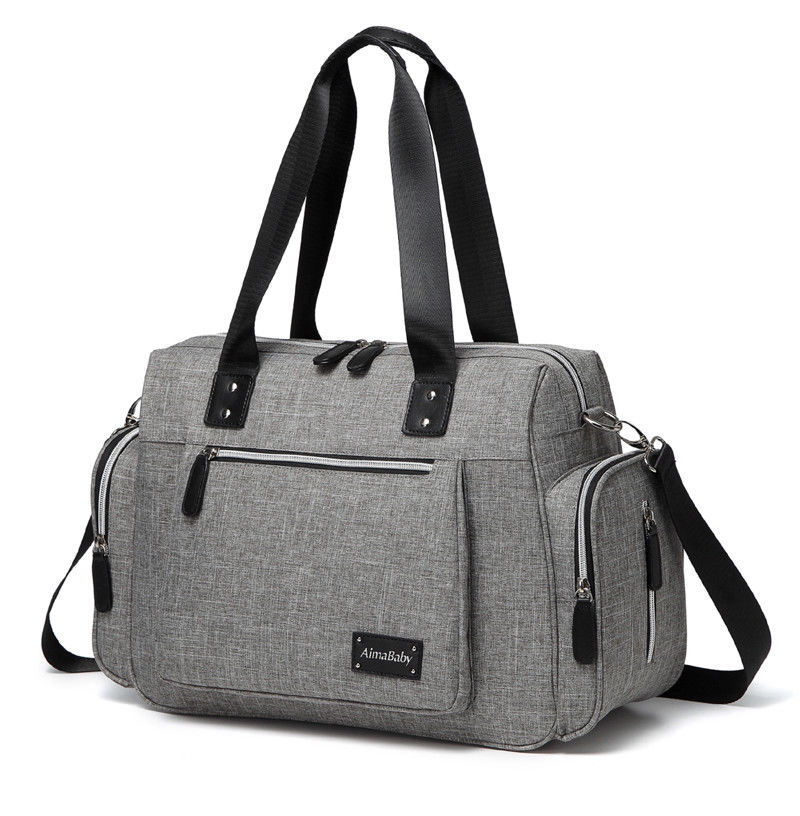 45d861ac5eca4 Large Messenger Changing Bag – Grey with Silver Zipped Side Pockets –  Babycchinos