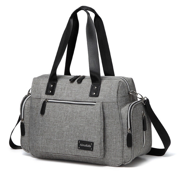 Babycchinos - Large Messenger Changing Bag – Grey with Silver Zipped Side Pockets