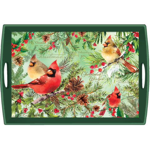 Christmas Pine Decoupage Wooden Tray