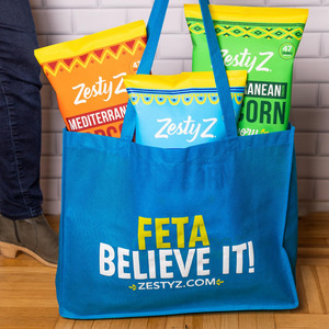 Zesty Z Tote Bag, Feta Believe It, Mediterranean Popcorn 5oz