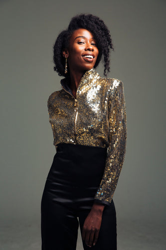 Gold Sequin waist Jacket
