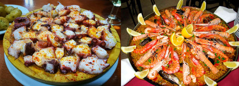 Tapas and Paella de mariscos
