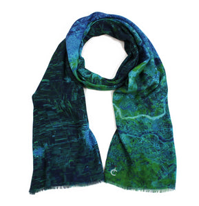 The Aleppo map print scarf in modal/cashmere blend in support of women building peace in Syria.