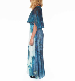 Athens map print wrap chiffon dress
