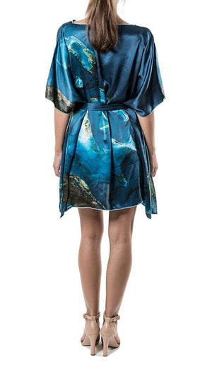 Bahamas aerial view silk print dress/kaftan/caftan