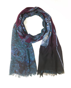 Barcelona, Spain map print scarf in modal/cashmere blend. Perfect gift or souvenir for women and men.