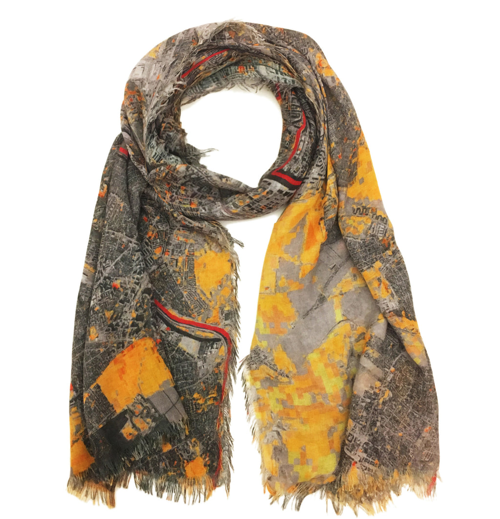 Berlin, Germany map print scarf in modal/cashmere blend. Perfect gift or souvenir for women and men.