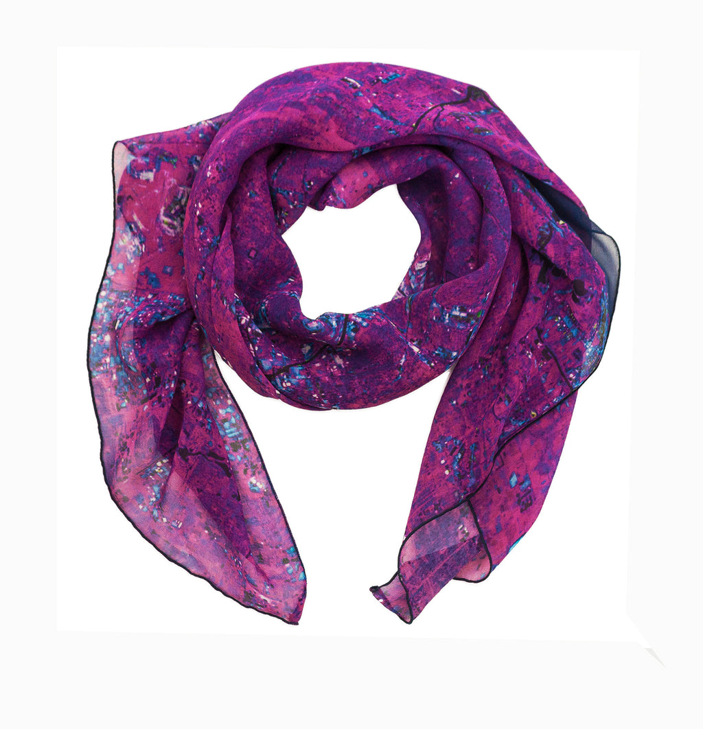 Chicago, USA purple map print scarf in silk/georgette blend. Perfect gift for men and women