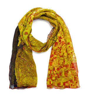 Chicago gold map print scarf in silk/georgette blend. Perfect gift or souvenir for women and men.