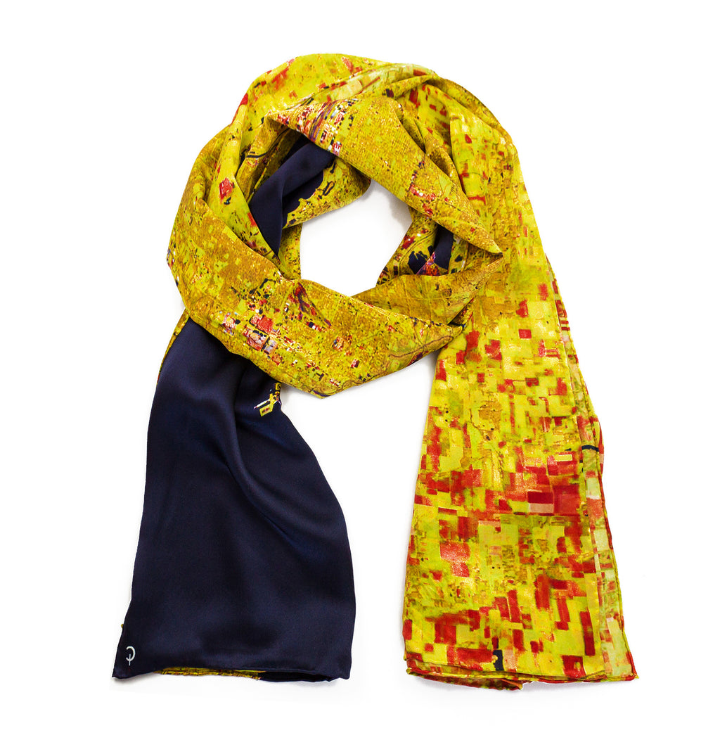Chicago Gold Rectangular Satin Scarf