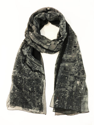 Chicago Black/Gray Rectangular Scarf