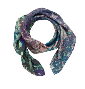 Dallas, Texas map print scarf in satin/silk blend.