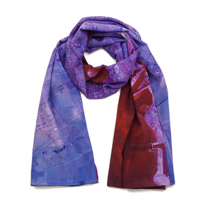 Doha, Qatar purple map print scarf in silk. Perfect souvenir or gift for men and women.