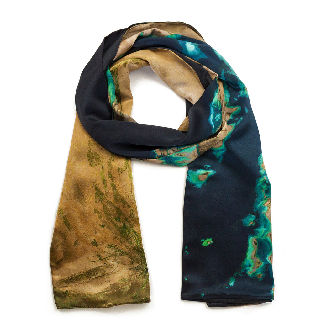 Dubai/Abu Dhabi, United Arab Emirates map print scarf in satin/silk blend. Perfect gift or souvenir for women and men.