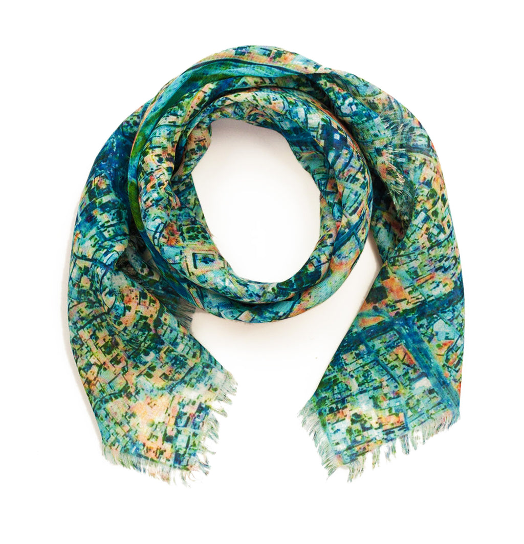 Esfahan, Iran map print scarf in modal/cashmere blend. Perfect gift or souvenir for women and men.