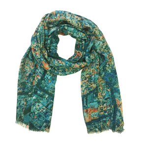 Esfahan, Iran map print scarf in modal/cashmere blend.