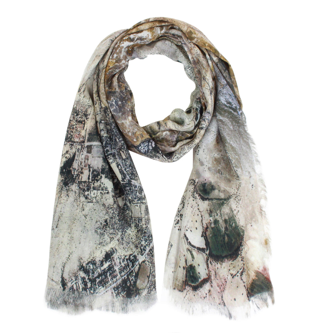 Jaisalmer, India map print scarf in modal/cashmere blend. Perfect souvenir or gift for women and men.