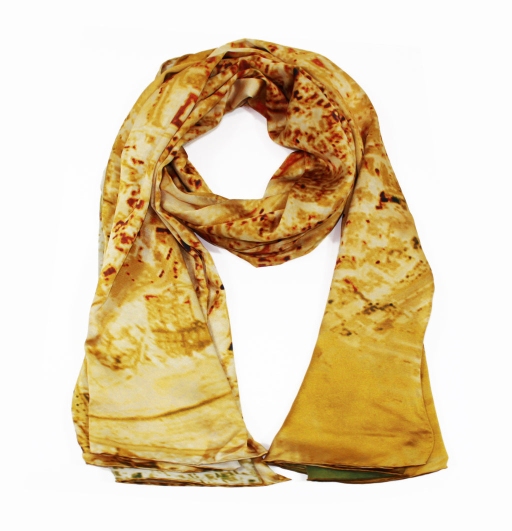 Jerusalem, Israel map print scarf in satin/silk blend. Perfect gift or souvenir for women and men.