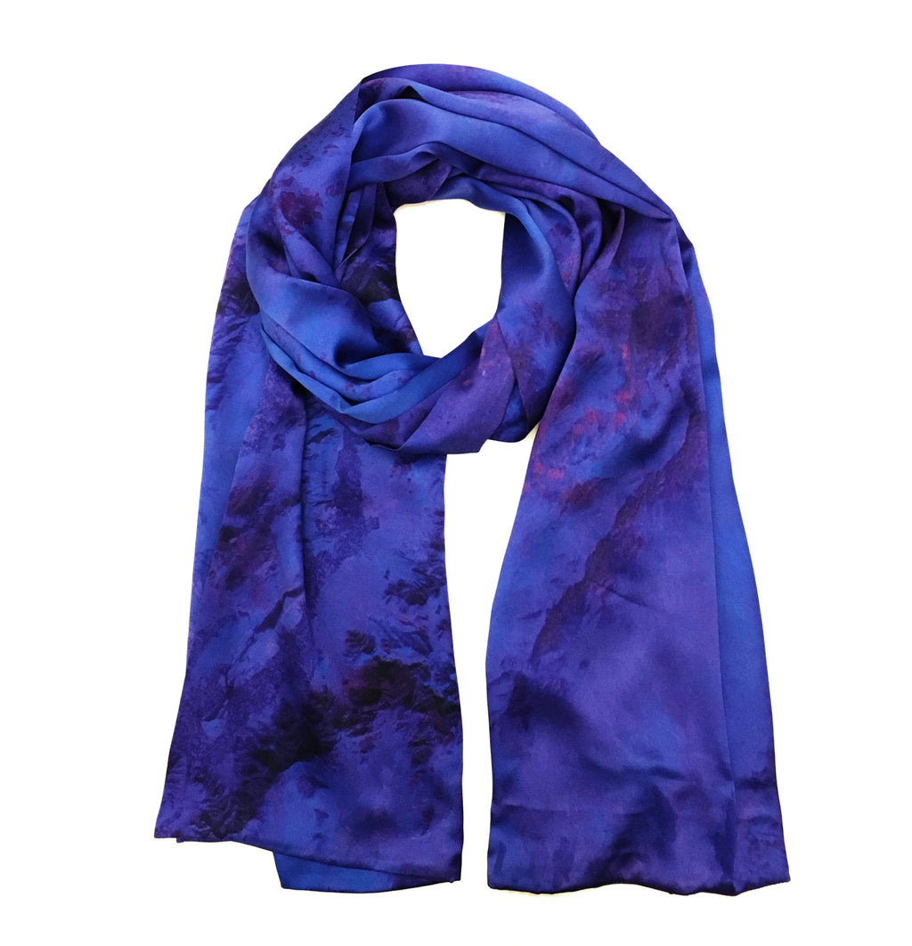 Kabul, Afghanistan map print scarf in satin/silk blend.