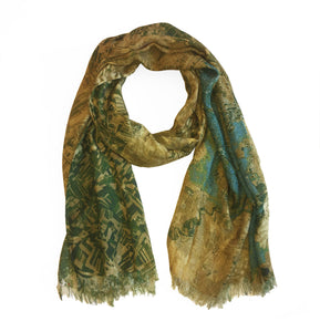 Kermanshah, Iran map print scarf in modal/cashmere blend.