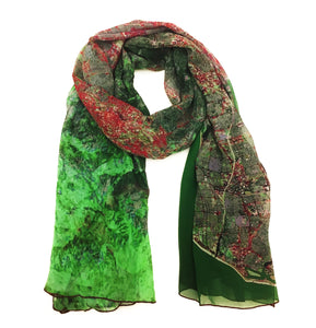 Los Angeles, California green map print scarf in silk. Perfect gift or souvenir for women and men.