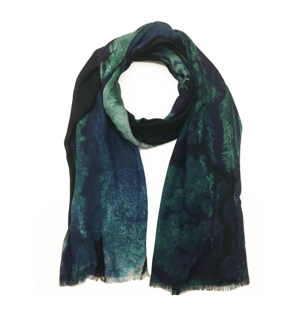 Lagos, Nigeria map print scarf in modal/cashmere blend.