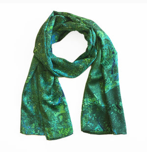London, England green map print scarf in satin/silk blend.