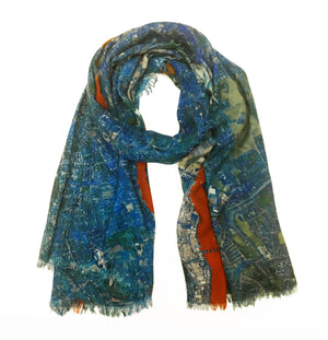 London, England blue map print scarf in modal/cashmere blend. Perfect souvenir or gift for women and men.