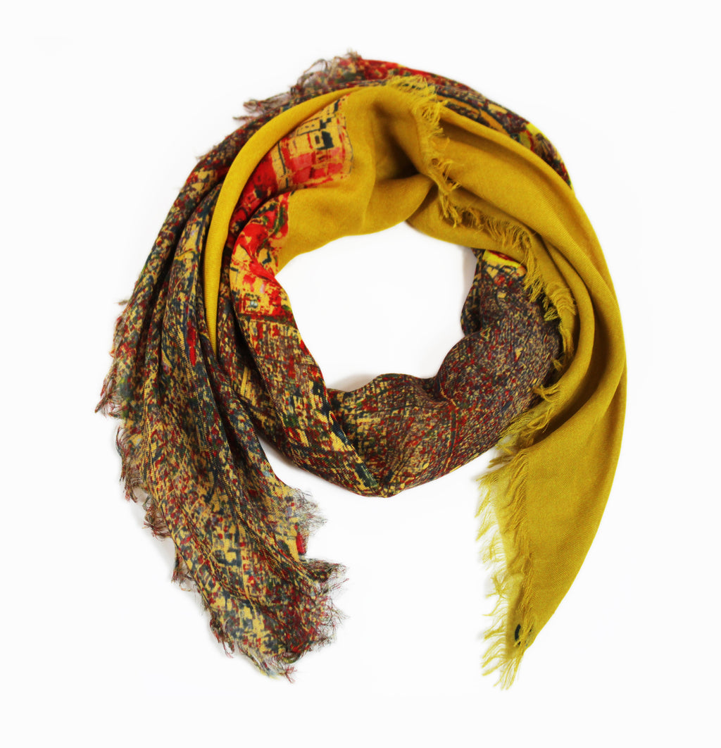 Manila, Philippines map print scarf in modal/cashmere blend. Perfect gift or souvenir for women and men.
