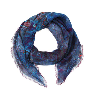 Mashhad, Iran map print scarf in modal/cashmere blend. Perfect souvenir or gift for men and women.
