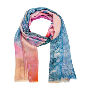 Miami, Florida map print scarf in modal/cashmere blend. Perfect souvenir or gift for women and men.