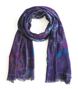 Minneapolis/Saint-Paul, Minnesota purple map print scarf in modal/cashmere blend inspired by Prince. The perfect token of memory for any fan of Prince and the legacy of Minneapolis.