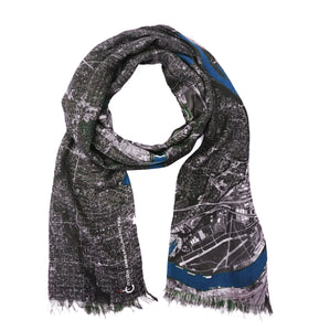 Minneapolis/Saint-Paul, Minnesota map print scarf in modal/cashmere blend. Perfect souvenir or gift for women and men.