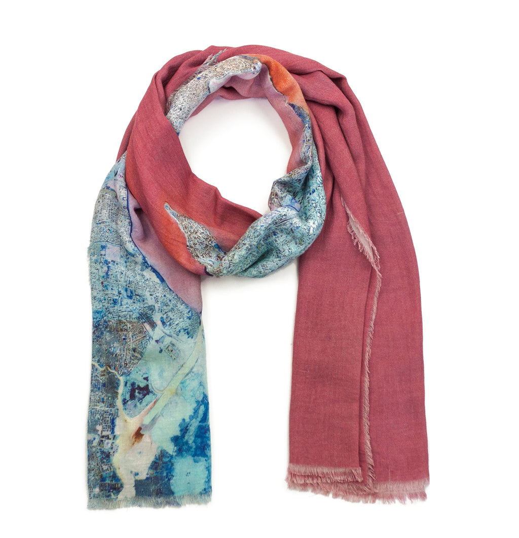 Mumbai, India map print scarf in modal/cashmere blend. Perfect gift or souvenir for women and men.