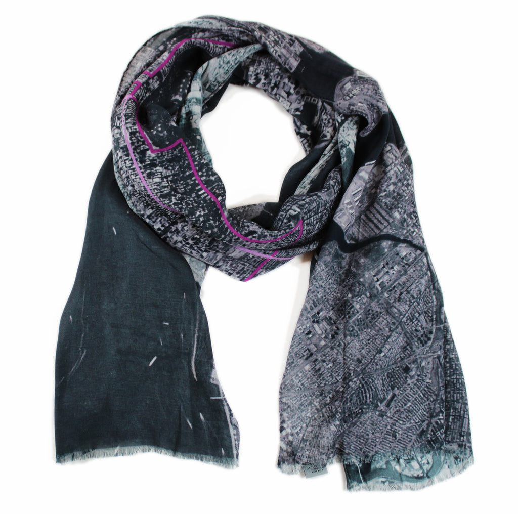 New York City, New York black map print scarf in modal/cashmere blend. Perfect souvenir or gift for men and women.