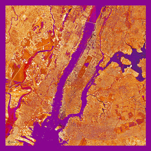 New York City, New York orange map print scarf in satin/silk blend. Perfect souvenir or gift for women and men.