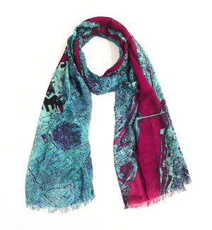 New York Blue Rectangular Scarf