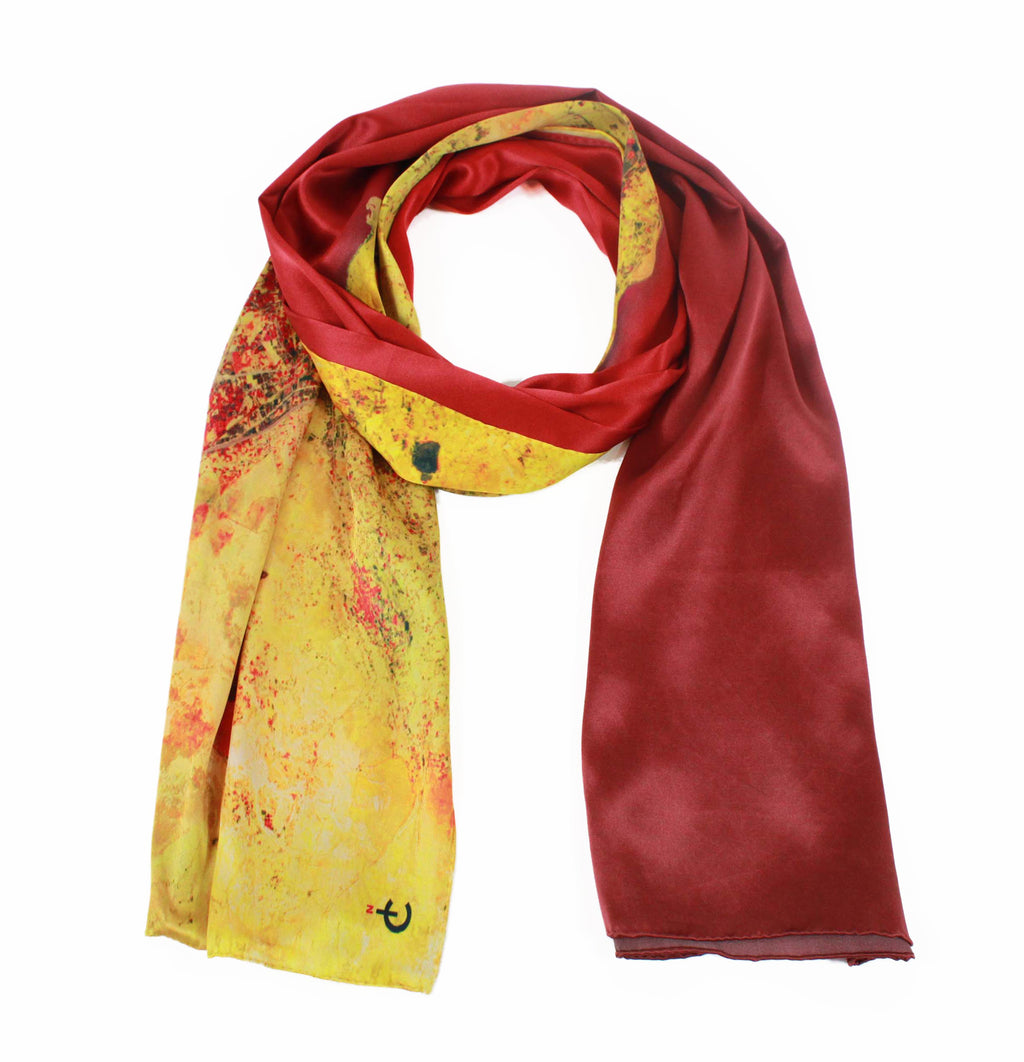 Palermo, Sicily red map print scarf in satin/silk blend. Perfect souvenir or gift for men and women.