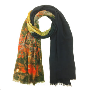 Palermo, Sicily green map print scarf in modal/cashmere blend. Perfect gift or souvenir for women and men.