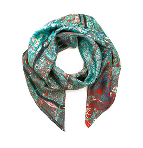 Paris Blue Square Satin Silk Scarf