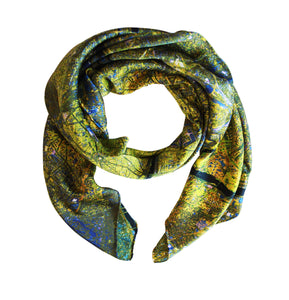 Paris, France yellow map print scarf in satin/silk blend. Perfect souvenir or gift for men and women.